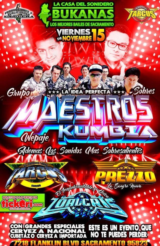 Flyer for La idea perfecta Maestros Kumbia, en Sacramento