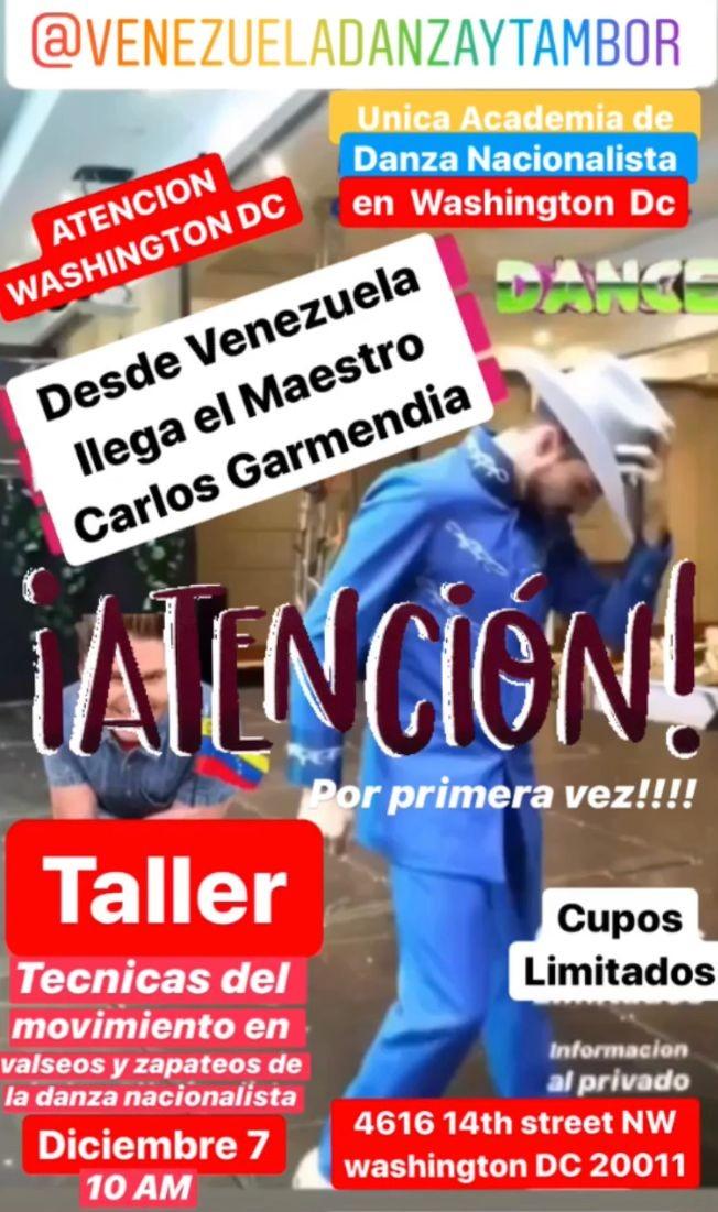 Flyer for 1er Taller De Danza Folclórica  Venezolana Con el Maestro Carlos Garmendia en Washington DC