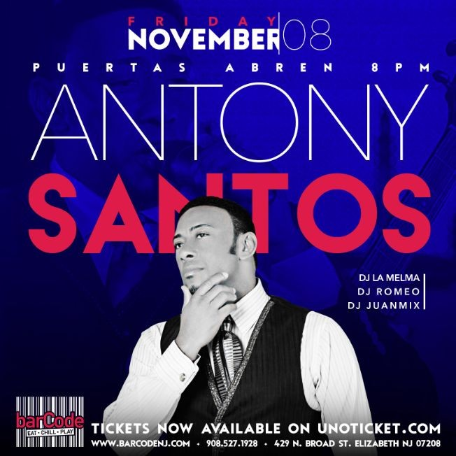 Flyer for Antony Santos Performing Live @barCode