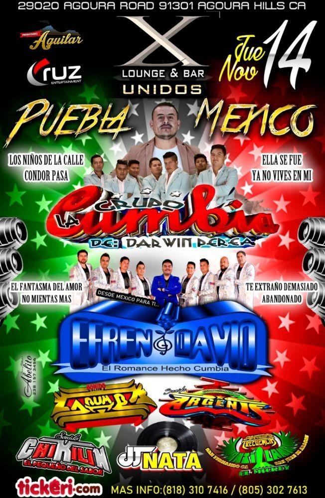 Flyer for Grupo La Cumbia De Darwin Perea,Efren David y Mas En Agoura Hills,CA