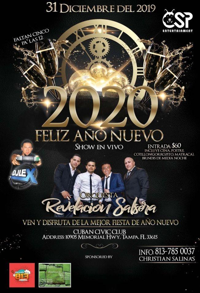 Flyer for Feliz Año 2020, Cena de Gala