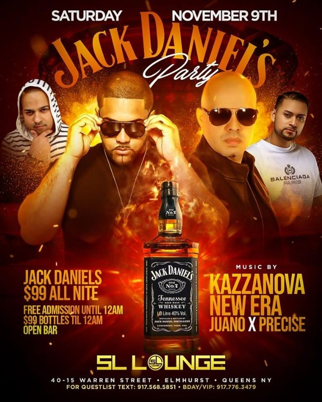 Flyer for Veterans Day Weekend Jack Daniels Party At SL Lounge