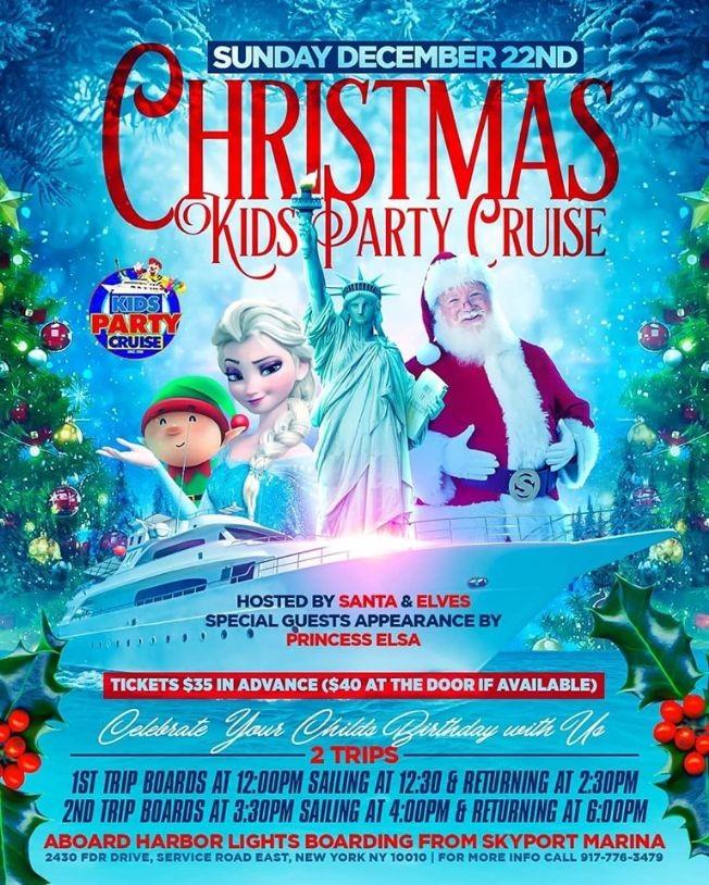 Flyer for Christmas Kids Party Cruise (12:00pm-2:30pm)