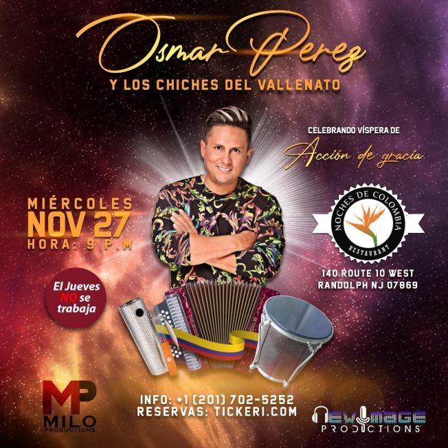 Flyer for Osmar Perez y los Chiches del Vallenato En Concierto en Randolph,NJ