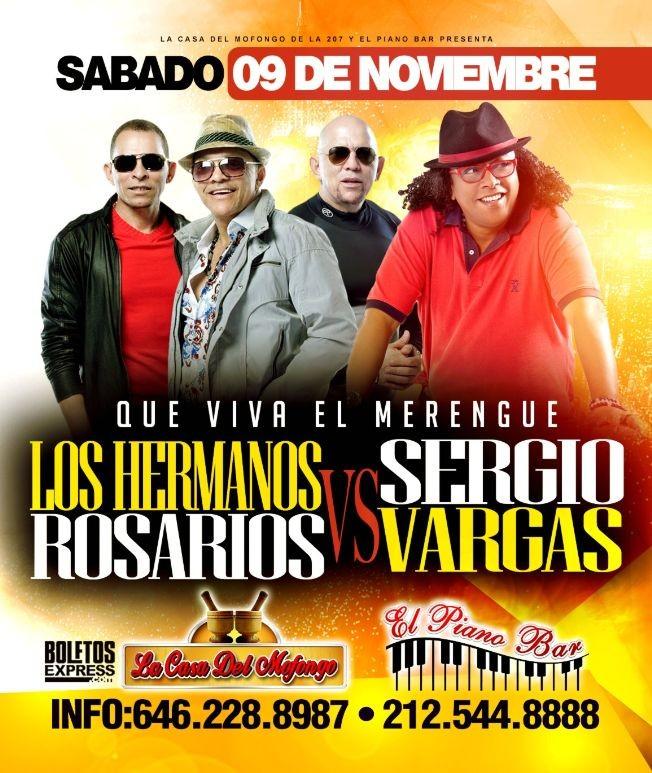 Flyer for SERGIO VARGAS & LOS HERMANOS ROSARIO
