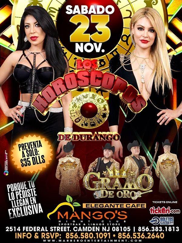 Flyer for Los Horoscopos de Durango y Gramo de Oro en Vivo!