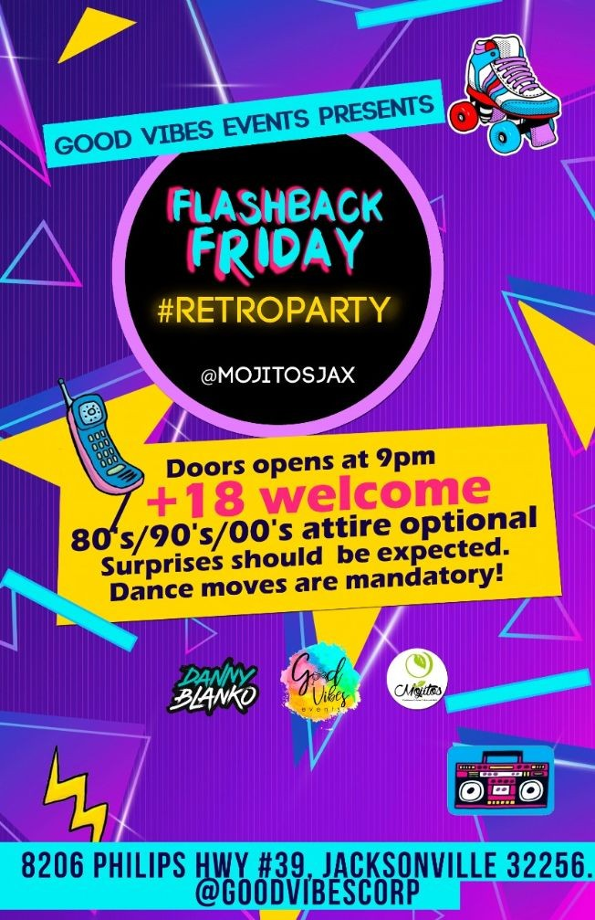 Flyer for Flashback Friday #Retroparty