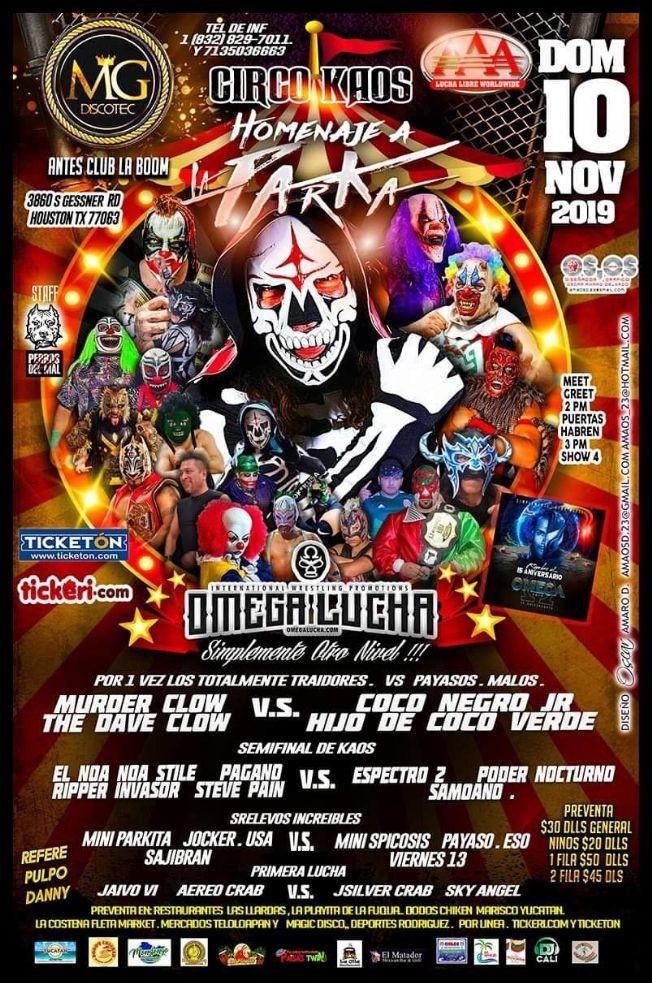 Flyer for Circo Kaos Homenaje a La Parka,Omega Lucha Totalmente Traidores vs Payasos Malos En Houston,TX