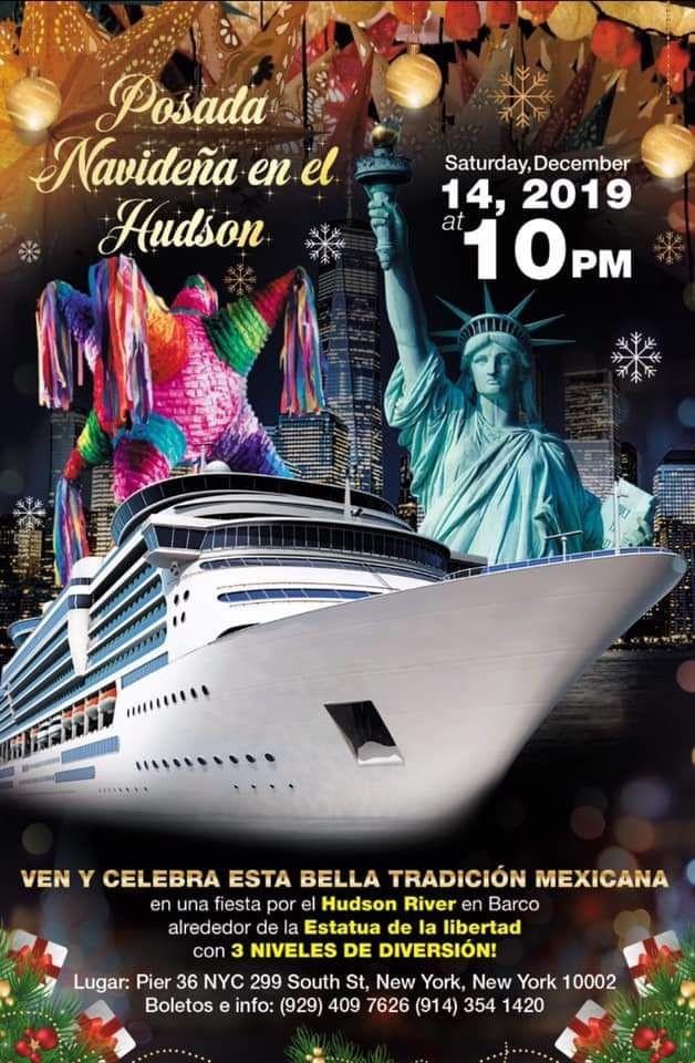Flyer for Posada Navideña en El Hudson Yacht Party