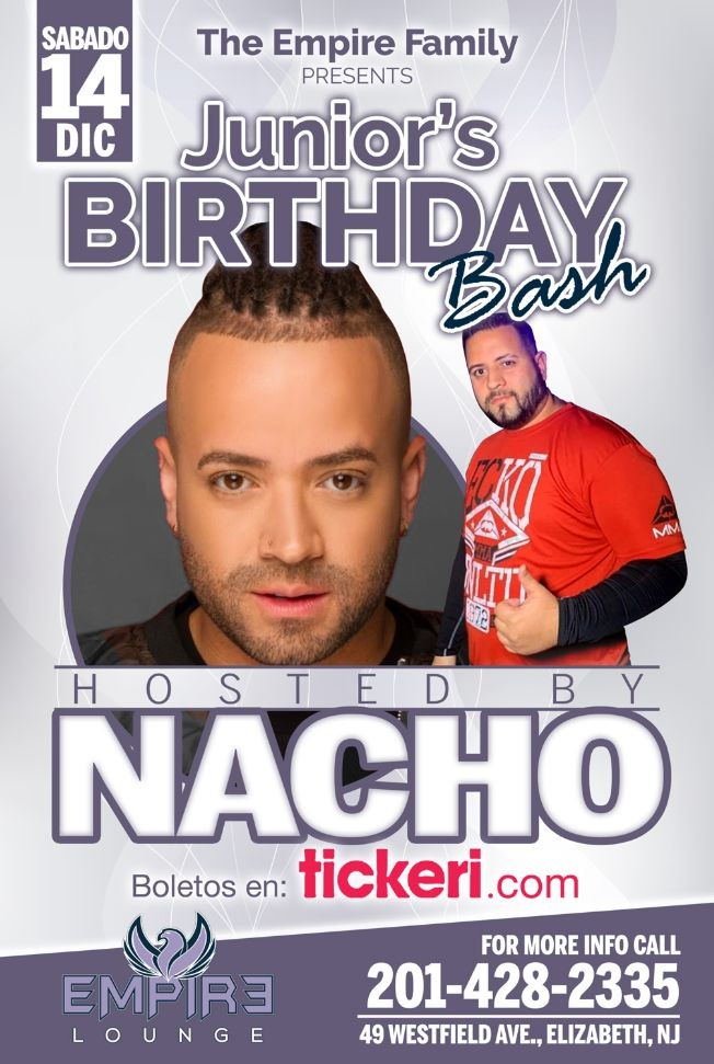 Flyer for Junior's Birthday Bash Hosted By Nacho!