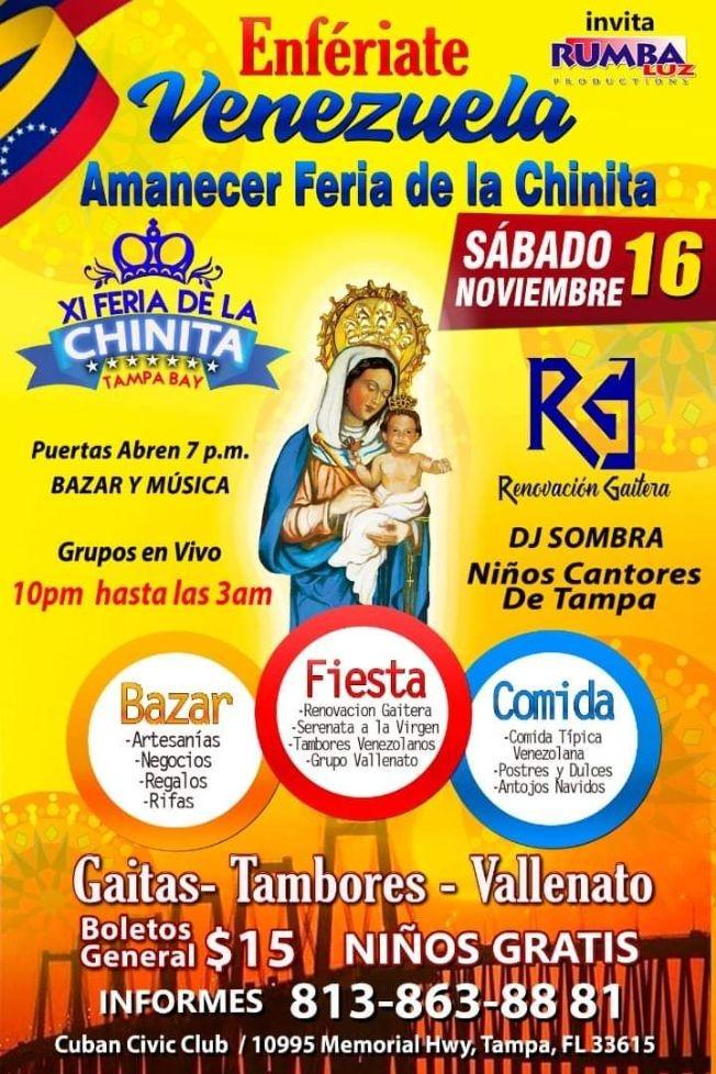 Flyer for Feria Familiar de La Chinita Tampa,FL