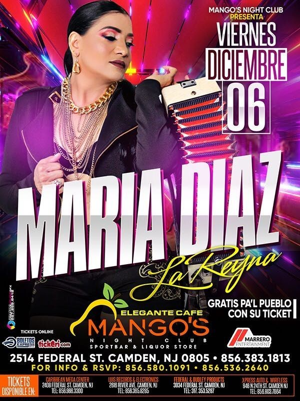 Flyer for Maria Diaz 'La Reina' en Concierto!