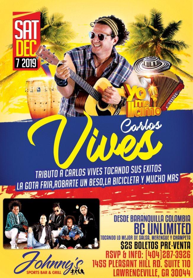 """Flyer for Carlos Vives """"yo me llamo""""Vives USA tour en vivo Sábado 7 de Diciembre en Atlanta!"""