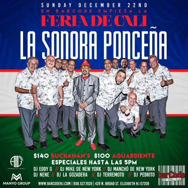 Flyer for La Sonora Ponceña Performing Live @barCode