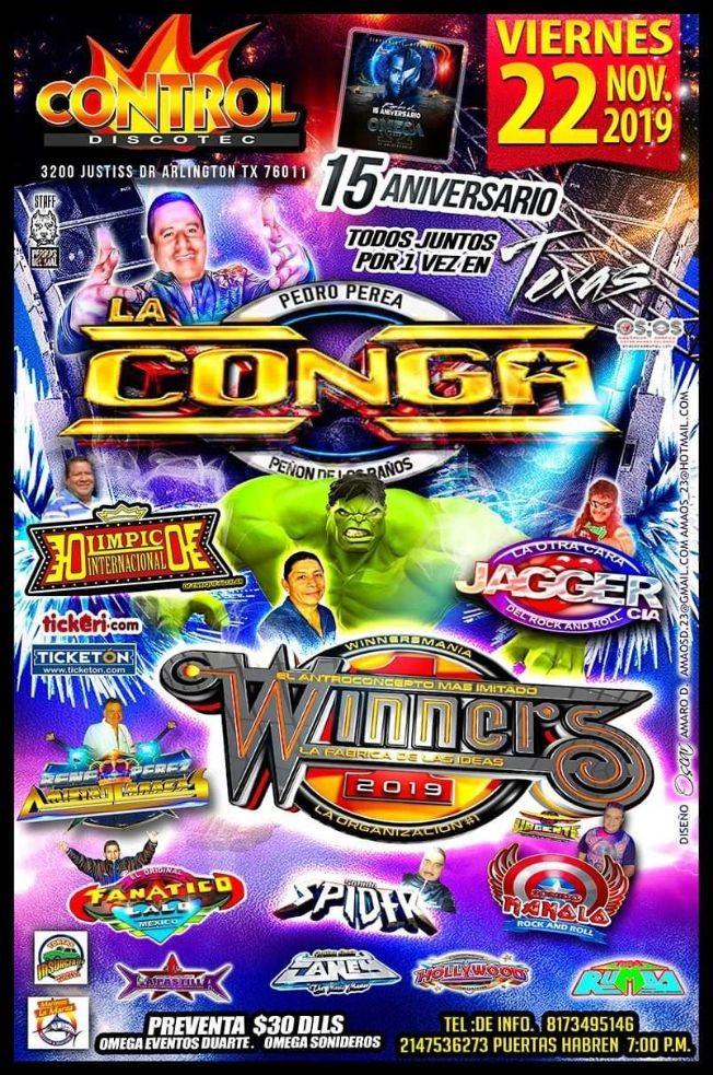 Flyer for Sonido La Conga,Sonido Winners y Mas En Arlington,TX