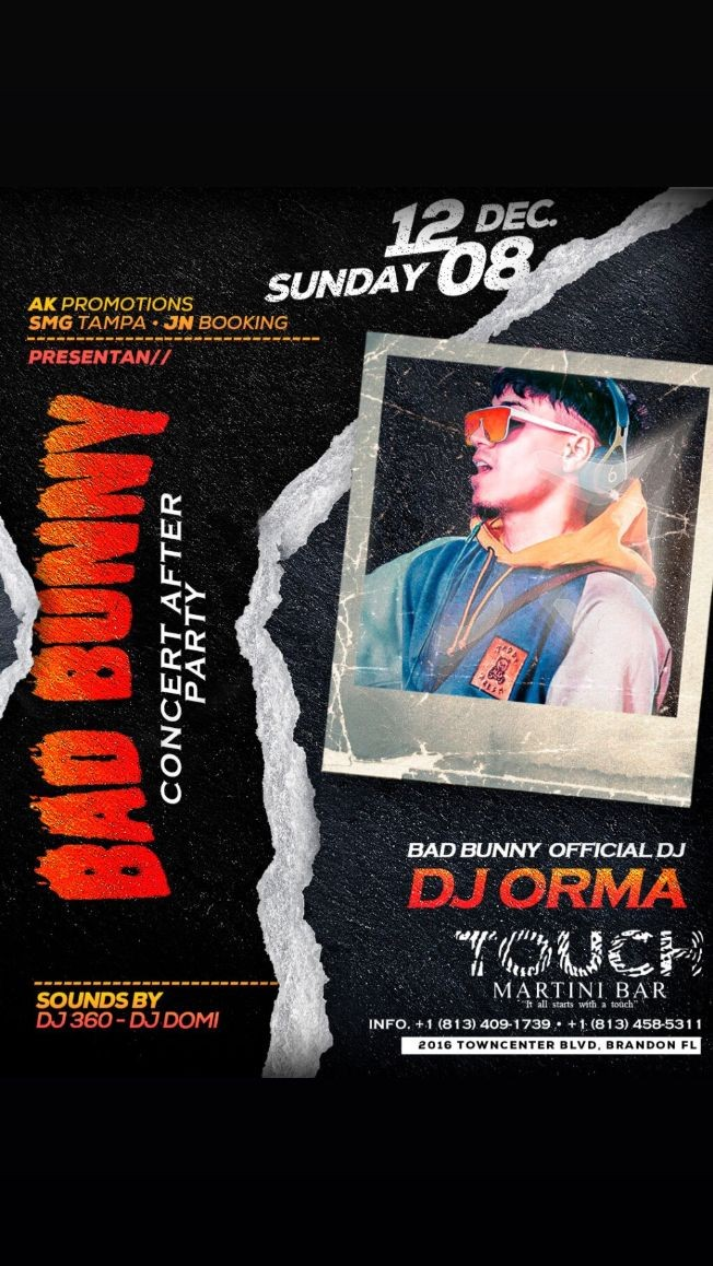 Flyer for Bad bunny concert after party With his official Dj Dj orma