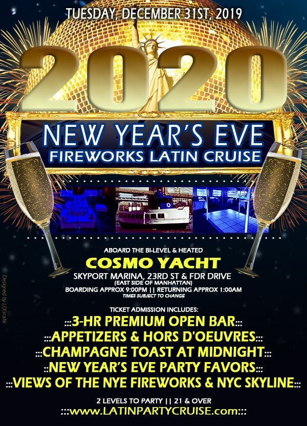 Flyer for New Year's Eve Fireworks Latin Cruise - Cosmo Yacht
