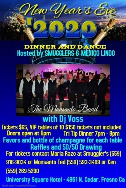 Flyer for NEW YEAR'S EVE AT SMUGGLERS