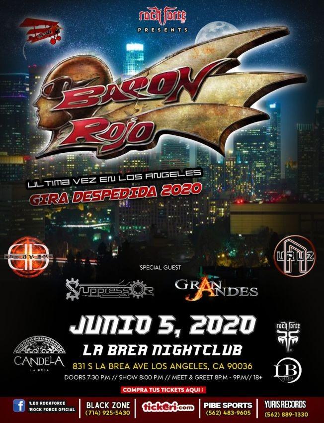 Flyer for Baron Rojo Ultima Vez En Los Angeles Gira Despedida 2020