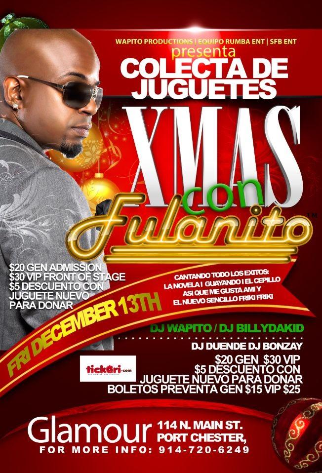 Flyer for Xmas con Fulanito (COLECTA DE JUGETES)