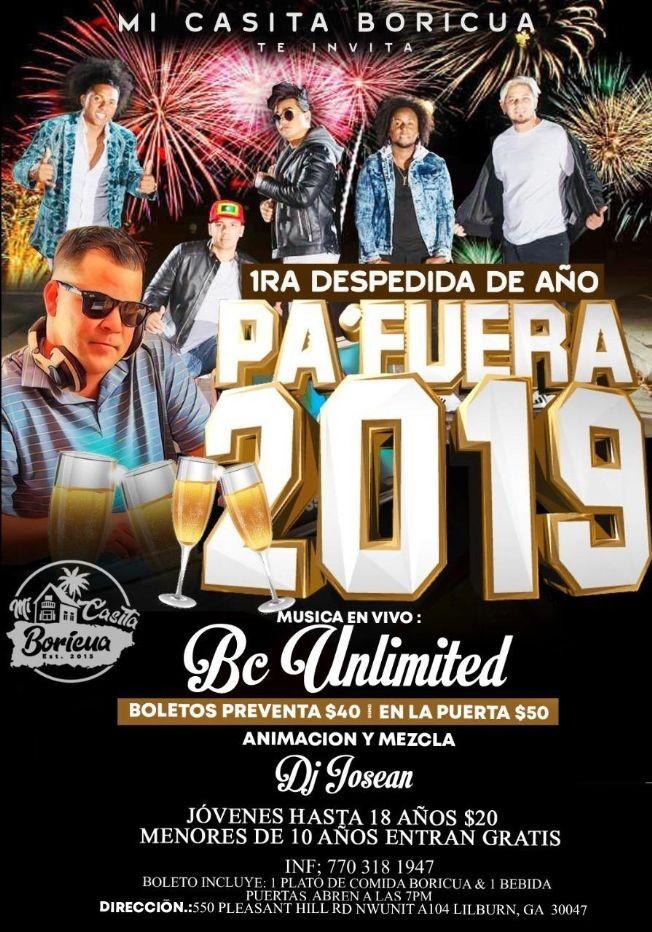 Flyer for 1RA Despedida Del Año Pa´Fuera 2019 Con Musica En Vivo En Lilburn,GA