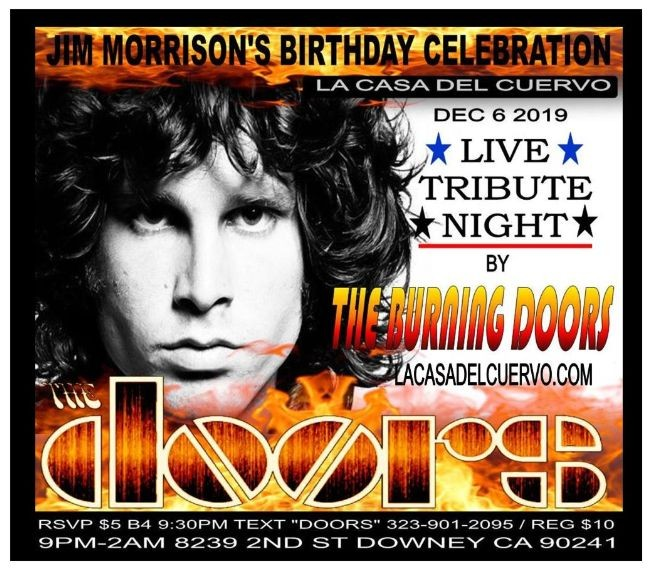 Flyer for THE DOORS LIVE TRIBUTE NIGHT BY THE BURNING DOORS. JIM MORRISON'S BIRTHDAY CELEBRATION