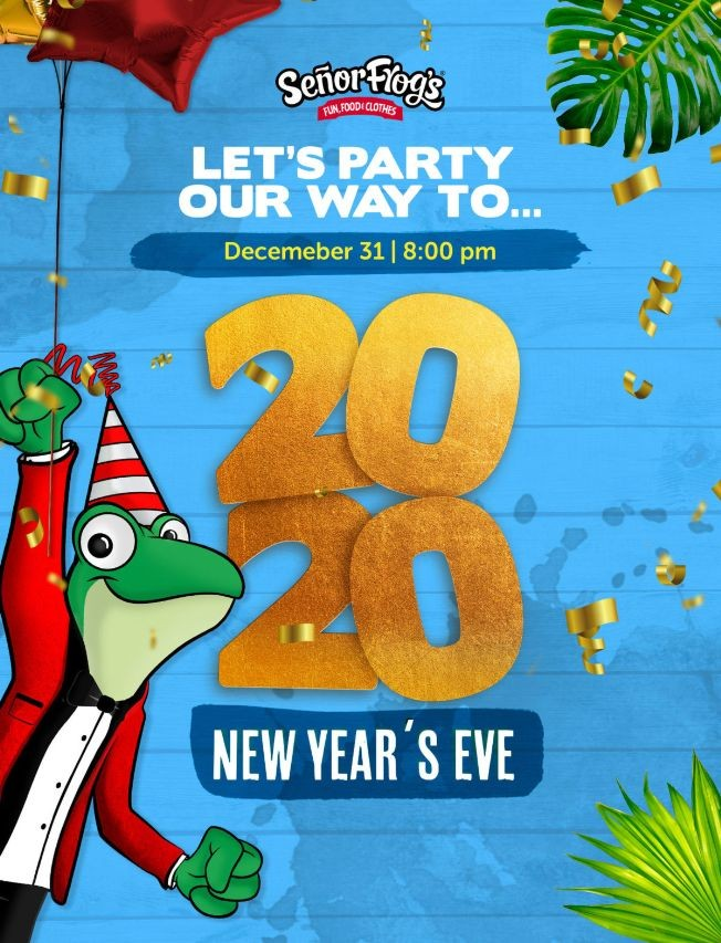 Flyer for NEW YEAR'S EVE AT SR. FROG'S ORLANDO