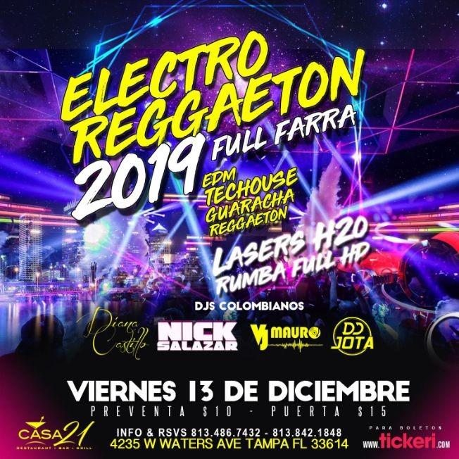 Flyer for Electro Reggaeton 2019 Full Farra en Tampa,FL