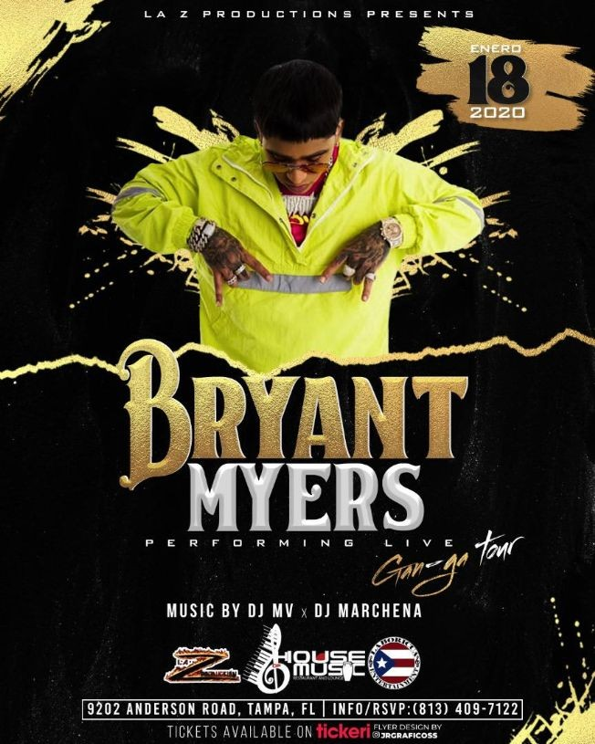 Flyer for Bryant Myers LIVE