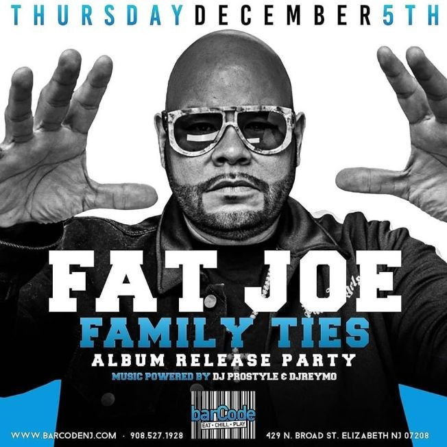 Flyer for Fat Joe Family Tires Album Release Party DJ Prostyle Live At Barcode