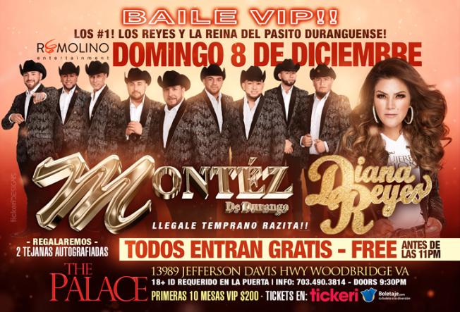 Flyer for Montez de Durango y Diana Reyes - BAILE VIP