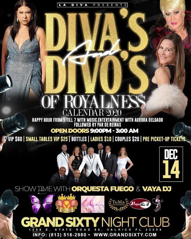 Flyer for Divas & Divos Of Royalness Calendar 2020 En Valrico, FL
