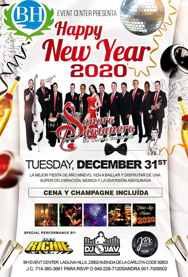 Flyer for Happy New Year 2020 Con Sonora Santanera y Mas En Laguna Hills,CA
