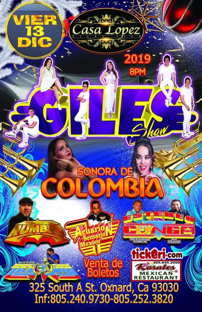 Flyer for Giles Show & Sonora De Colombia en Oxnard,CA