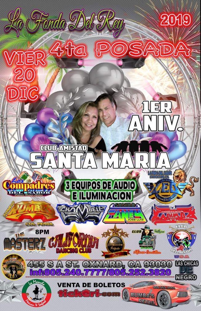 Flyer for Club Amistad Santa Maria en Oxnard,CA