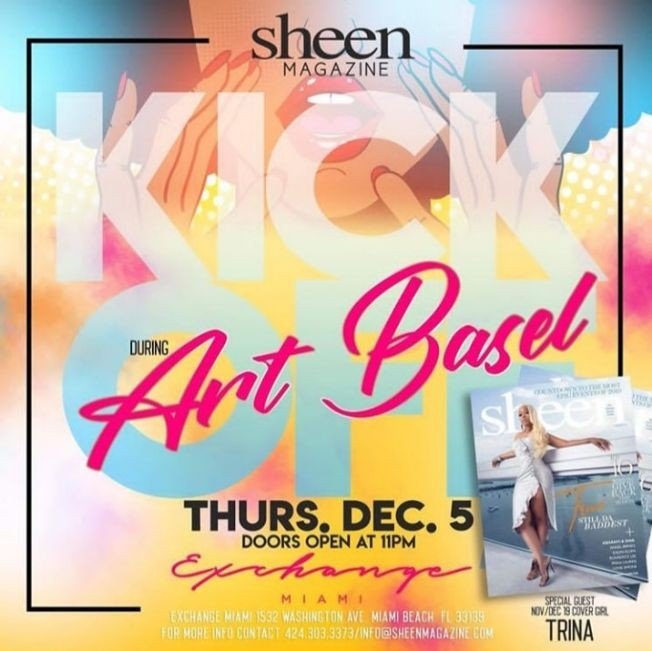Flyer for Art Basel Weekend Kickoff Party At Exchange Miami