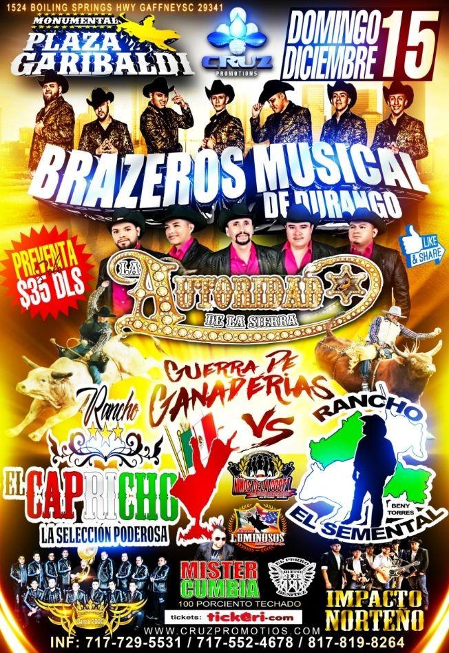 Flyer for Brazeros Musical de Durango y Autoridad de la Sierra