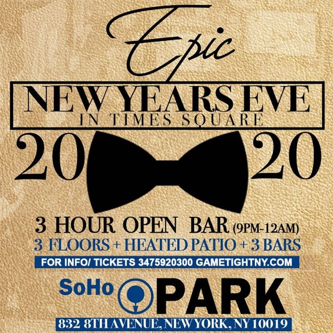 Flyer for Soho Park New Years Eve NYE 2020
