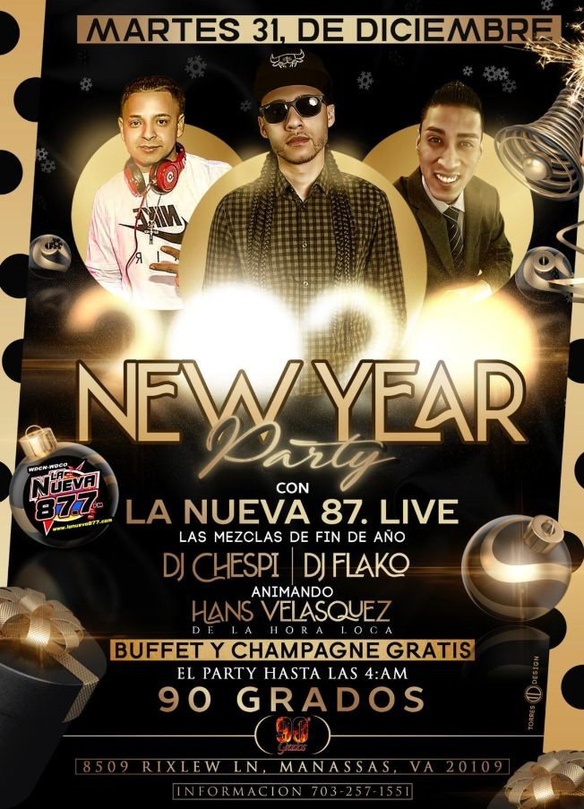 Flyer for New Year Party in Manassas,VA