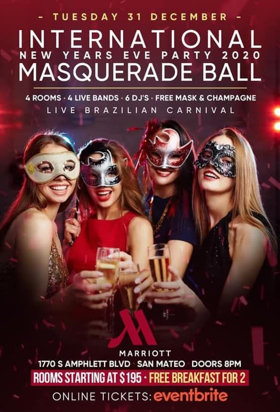 Flyer for International New Years Eve Masquerade Ball 2020