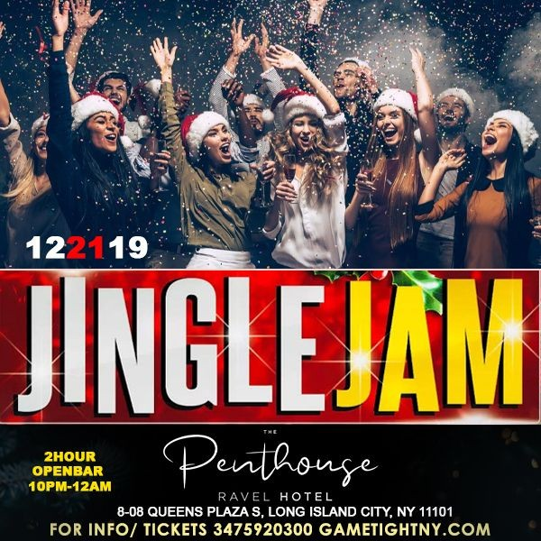 Flyer for Ravel Penthouse 808 Jingle Jam Holiday Rooftop Openbar Party