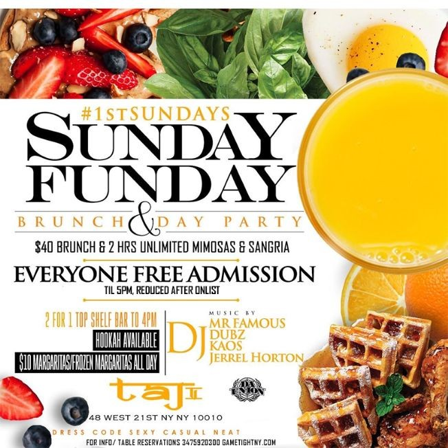 Flyer for Taj Lounge NYC Hip Hop vs. Reggae™ Sunday Funday Brunch Party