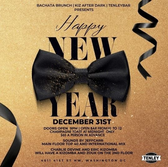 """Flyer for New Years party """" one last toast to tenley"""