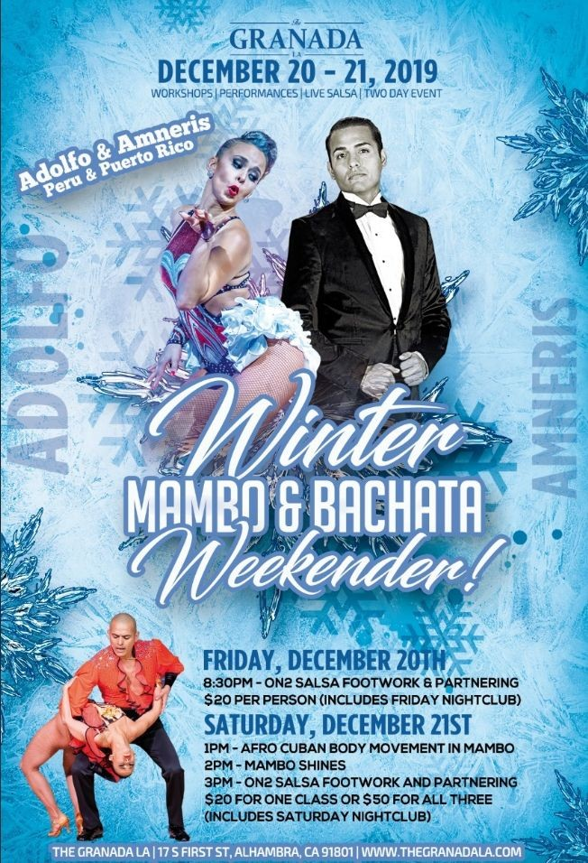 Flyer for Winter Mambo & Bachata Weekender - Live Music, Workshops & Performances