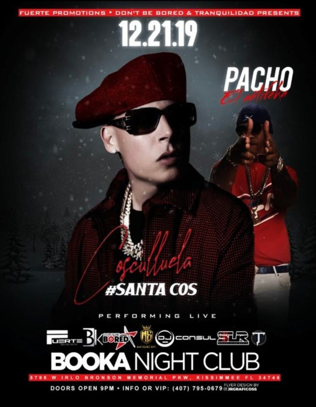 Flyer for cosculluela & pacho el anti feka  en  booka latin bar and grill