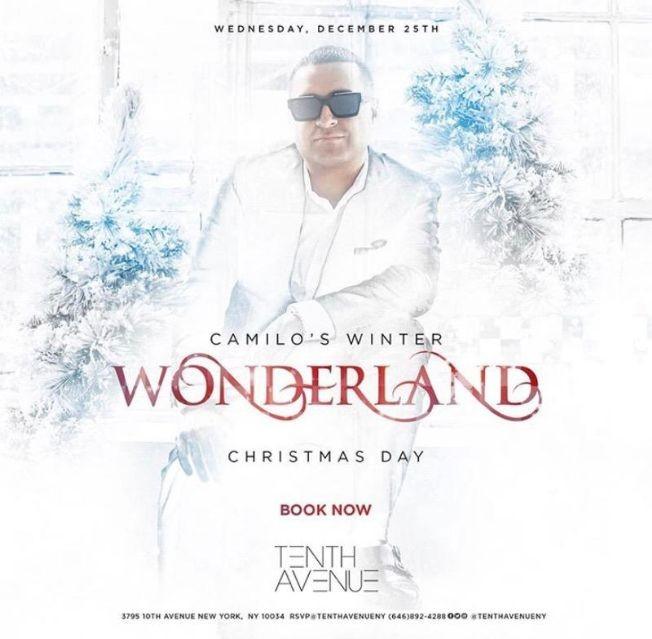 Flyer for Camilo's Winter Wonderland DJ Camilo Live At Tenth Avenue
