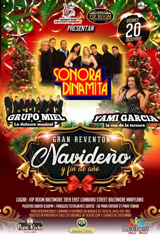 Flyer for Gran Evento Navideño y Fin De Año Con Sonora Dinamita,Grupo Miel y Mas En Baltimore,MA