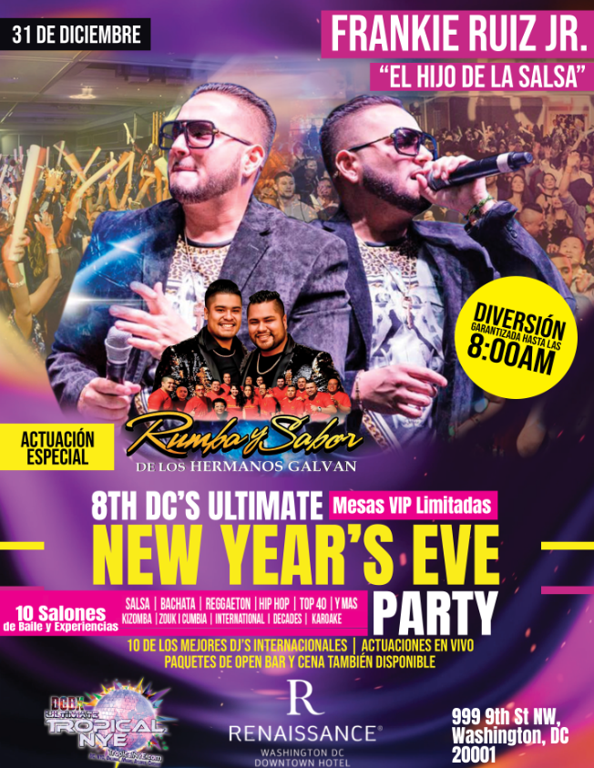 Flyer for 8th Ultimate Tropical NYE 2020 in Washington,DC