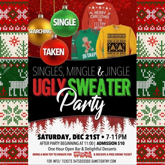 Flyer for Loft 51 NYC Single, Mingle & Jingle Ugly Sweater party 2019