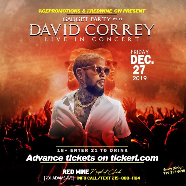 Flyer for GADGET PARTY w/ DAVID CORREY LIVE IN CONCERT